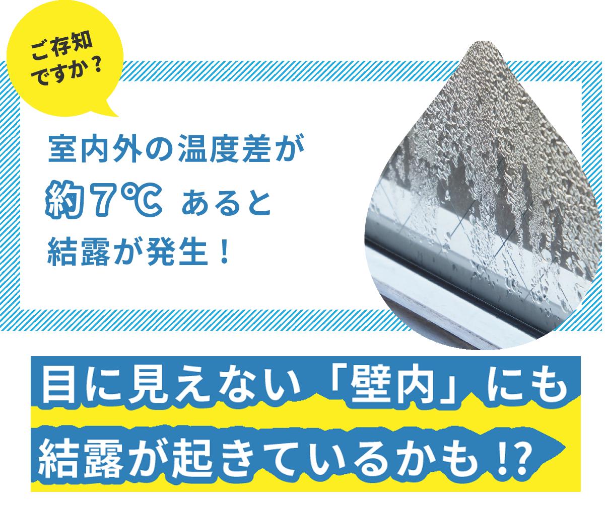 ご存知ですか?室内外の温度差が約7℃あるとけつろが発生!